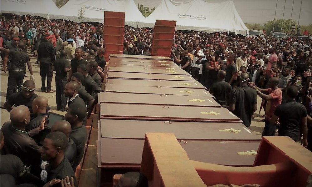One of many mass burials for Nigerian Christian farmers brutally killed by Fulani (Muslim) herdsmen.